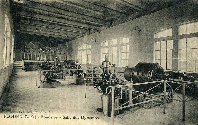 Aux environs de 1925, l'intérieur de la Fonderie, la fameuse salle des Dynamos.