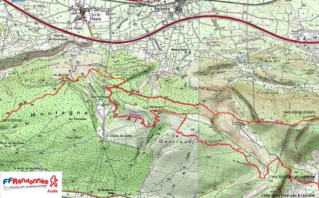 Voici la carte du sentier GR36 qui emmène vers les Bénitiers de Floure.