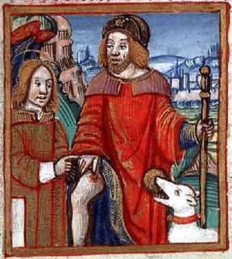 Saint Roch le patron des pèlerins et de nombreuses confréries ou corporations.