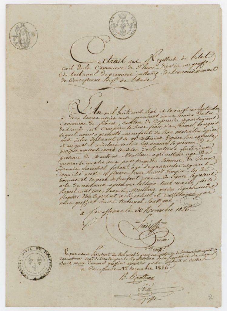 L'acte de naissance du Flouréen Prosper Ramel.