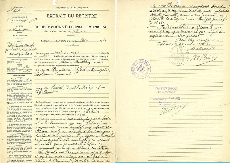 La délibération du Conseil Municipal du 11 juillet 1920.