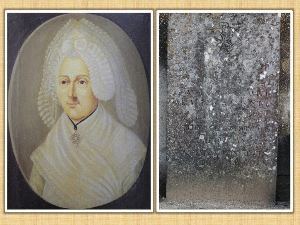 Portrait de Jeanne Destaville de Floure et sa pierre tombale située à l'entrée du cimetière, à gauche.