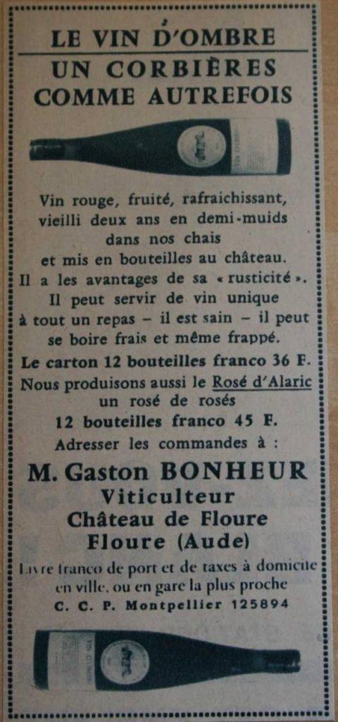 Il se considérait aussi comme viticulteur et n'a pas hésité à confectionner sa propre cuvée. Ici une publicité de 1963.
